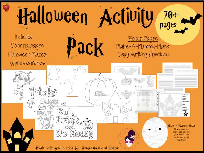 Halloween activity packet, halloween coloring pages, halloween worksheets for homeschool