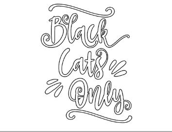 Black Cats Only halloween coloring page, homeschool halloween activities