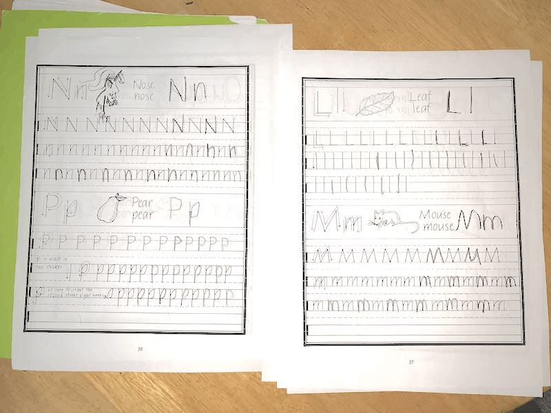 Perfect Reading, Beautiful Handwriting worksheet with the letters N, P, L, and M