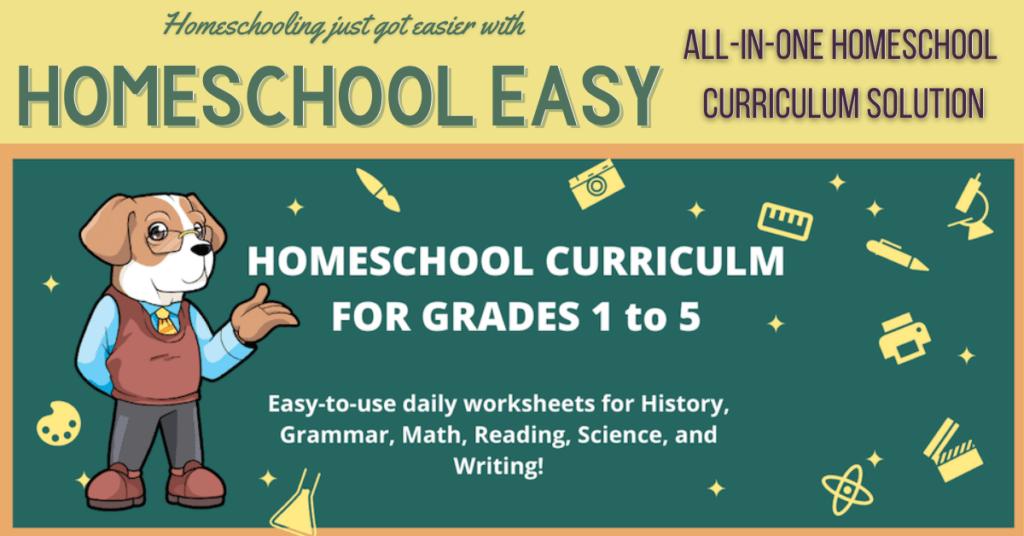 Homeschool Easy Homeschool Curriculum All In One for Grades 1-5