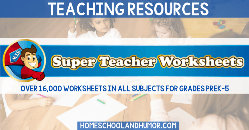 Super Teacher Worksheets is an online library of resources with over 16,000 worksheets for all subjects for grades prek-5. Great for homeschool worksheets for elementary and for elementary worksheets for teachers!