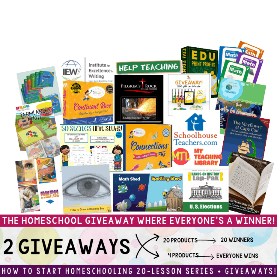In this Homeschool Giveaway, everyone's a winner! Instantly get 4 homeschool curriculums just by entering the giveaway! Plus, you could also be 1 of 20 winners to win a huge, complete curriculum from one of the 20 homeschool companies. Deadline is September 30th, 2020. There's no reason NOT to enter - you won't leave empty-handed! Enter the giveaway now! #homeschool #homeschoolgiveaways #homeschoolcurriculums #freehomeschoolcurriculums #contest #giveaway #win #instantwinners #prize