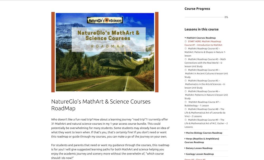 NatureGlo's MathArt & Science Courses RoadMap