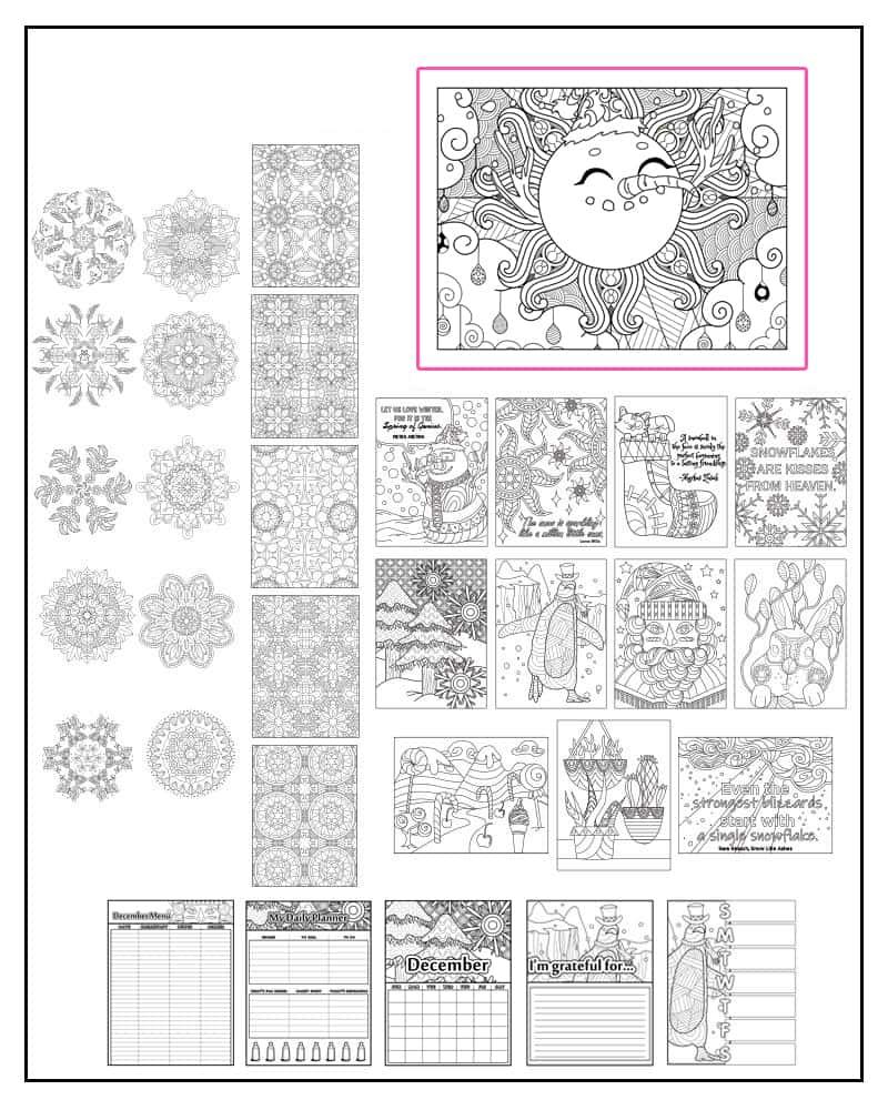 December color planner pages