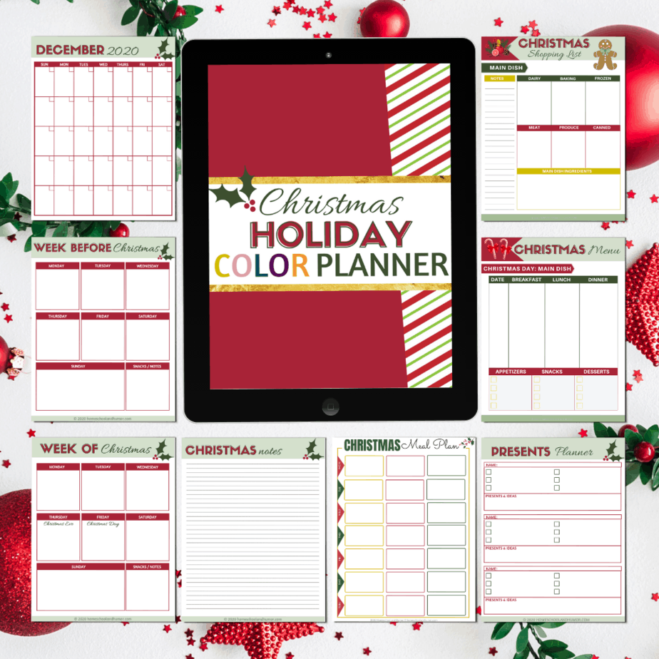 christmas color planner - full color printables