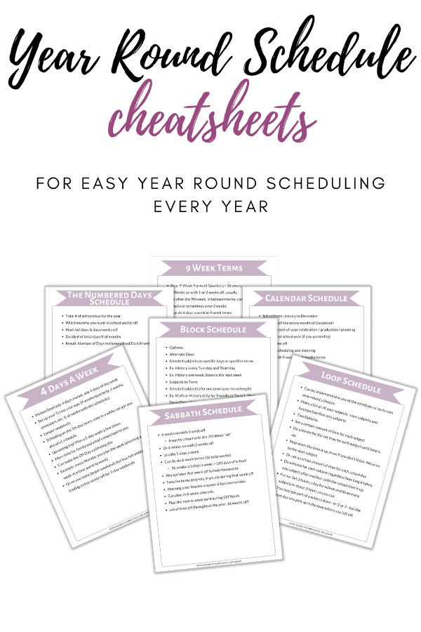 year round schedule cheatsheets