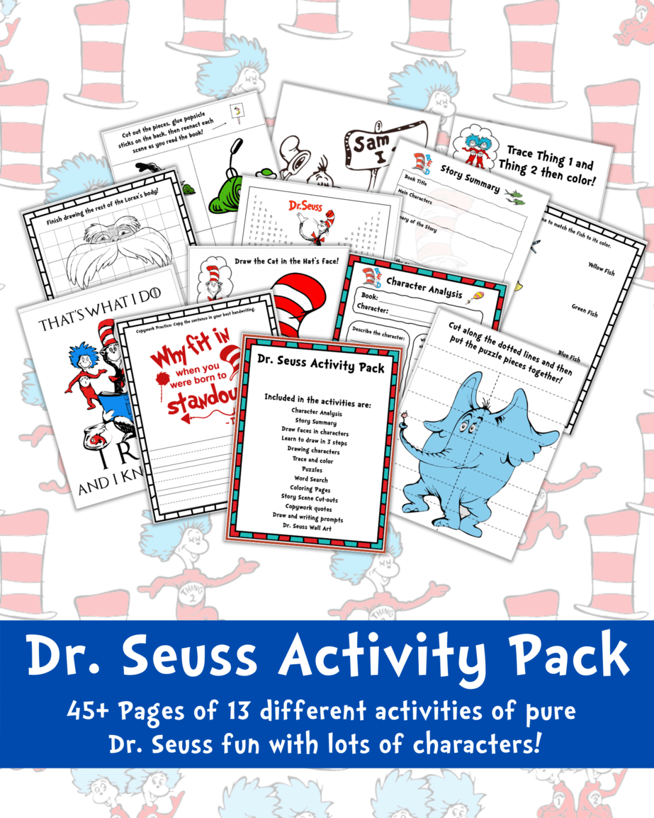Your kids will love these dr seuss preschool activities printables pack! With 13 activities and over 45 pages of Dr Seuss fun! #drseuss #readacrossamerica #thecatinthehat