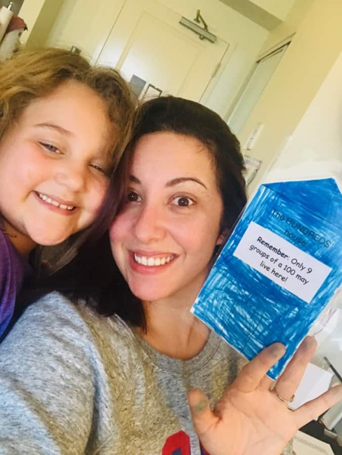 Me and Zoey using math manipulatives (instead of just worksheets!) and using Math Lessons For A Living Education by MasterBooks