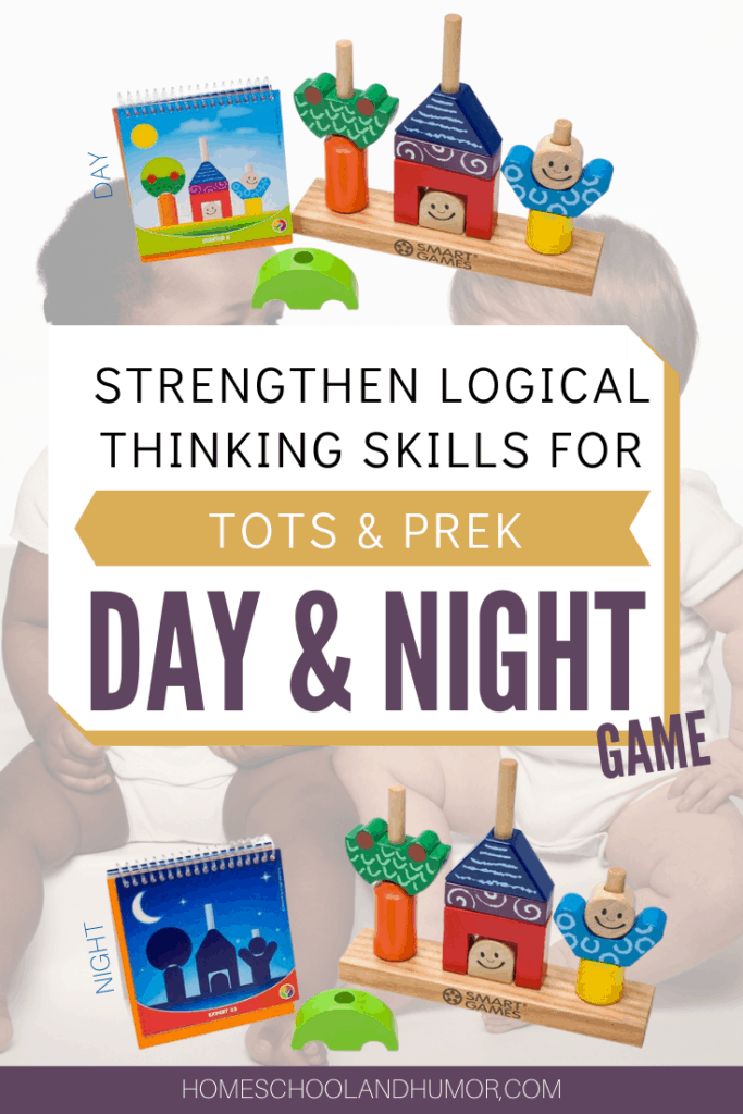 Help build your toddler and preschoolers logical and critical thinking skills with Day and Night brain game. Read how to use this for your tot and preschooler and why it's so important. #braingamesfortoddlers #preschoolactivities