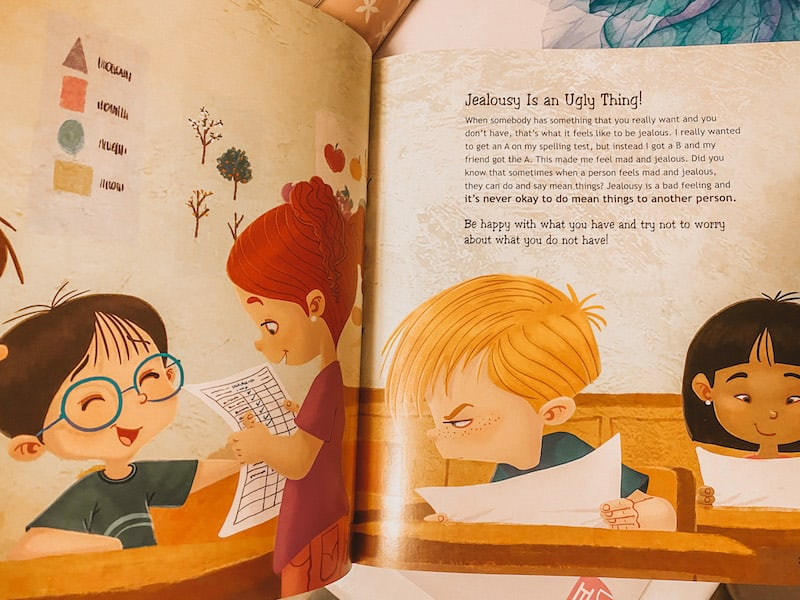 Jealousy is an ugly thing! From A Whole Bunch of Feelings, a book about feelings for kids
