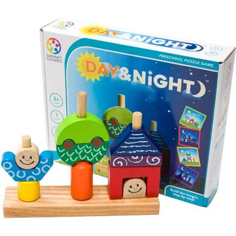 brain game for toddlers: card game and wooden block game to build logical and critical thinking skills