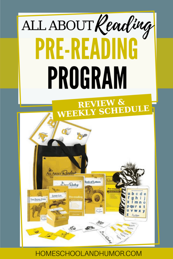 All About Reading has a pre-reading program for 3-year-olds (or early preschool age) called All About Reading Pre-Reading Program. Learn all about it and how we use it in our homeschool, plus our daily and weekly schedule using it. #allaboutreading #toddlers #preschool #readingcurriculum #earlyreaders