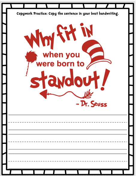 Dr Seuss activities for preschool pages