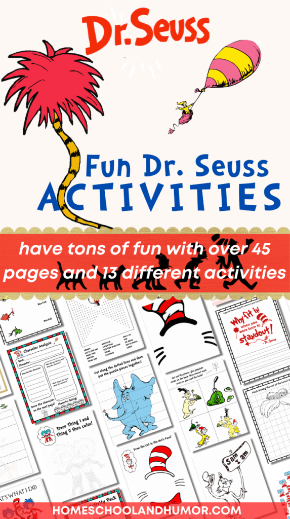 Build several skill areas with this Dr. Seuss Activity Pack! Your kids will love these Dr. Seuss preschool activities and printables pack! With 13 activities and over 45 pages of Dr Seuss fun! #drseuss #readacrossamerica #thecatinthehat