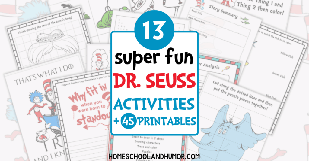 This Dr. Seuss Activity Pack has 13 different activities with over 45 pages! Your kids will love all the fun activities with all the Dr. Seuss characters and famous Dr. Seuss quotes. #drseuss #thecatinthehat #readacrossamerica #reading #drseussbooks #preschool